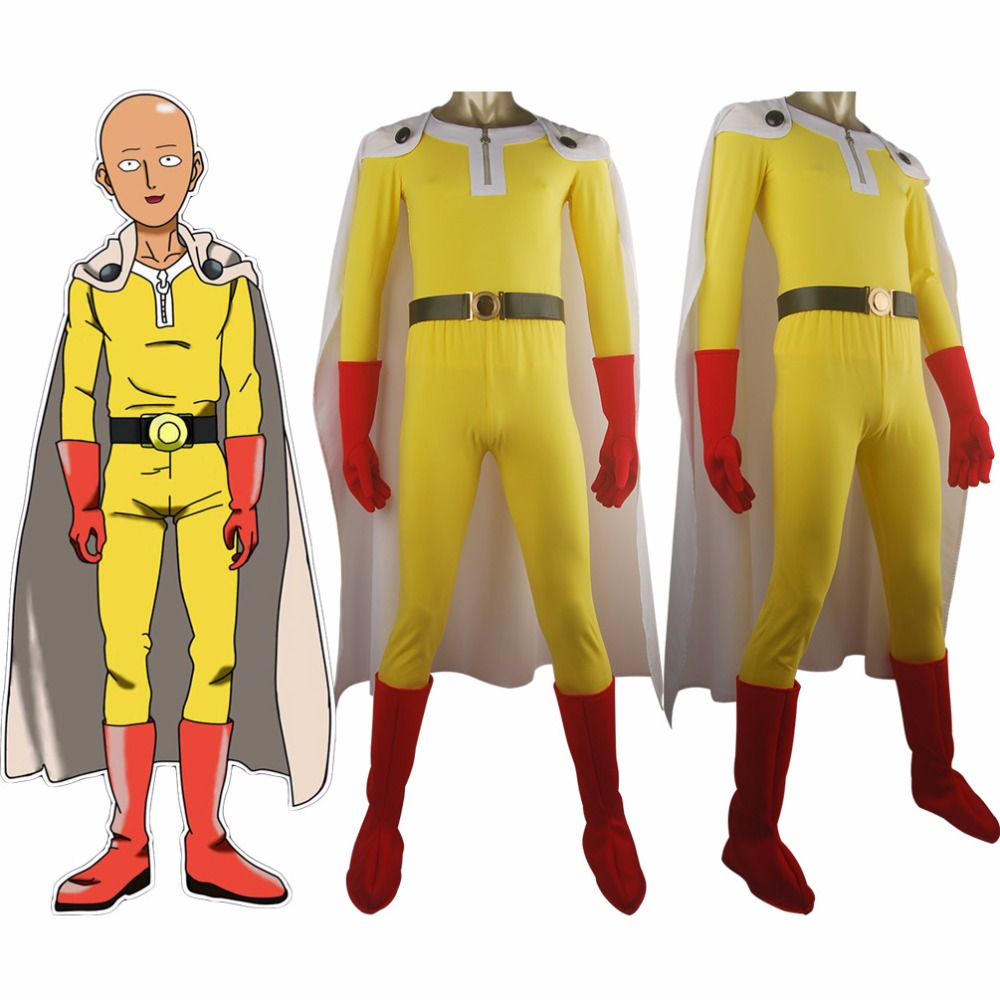 One Punch Man Wanpanman Saitama Cape Outfit Uniform Deluxe Full Set Halloween Cosplay Anime Comic-con Costume