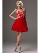 Nach Maß Plus Size Short Prom Kleider Kurzen Roten Trägerlosen Perlen Tüll 2016 Cocktailkleider für Frauen CD9602