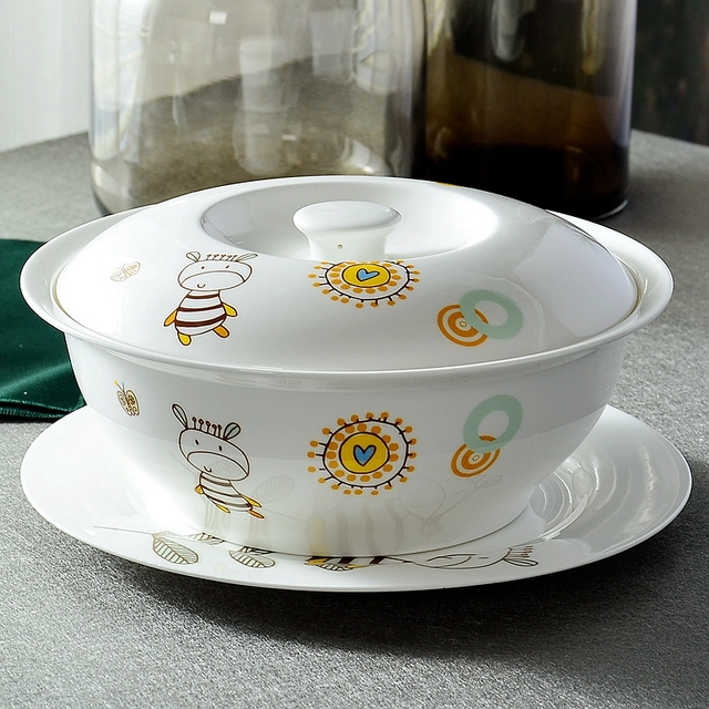 9 inch fine bone china buffets food container ceramic soup tureens for dinner