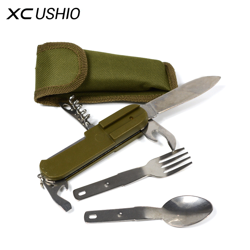Multipurpose Tableware Stainless Steel Cutlery Multifunctional Tools Knife Spoon Fork Bottle Opener Screwdriver Outdoor Camping 4 in 1 stainless steel foldable camping cutlery