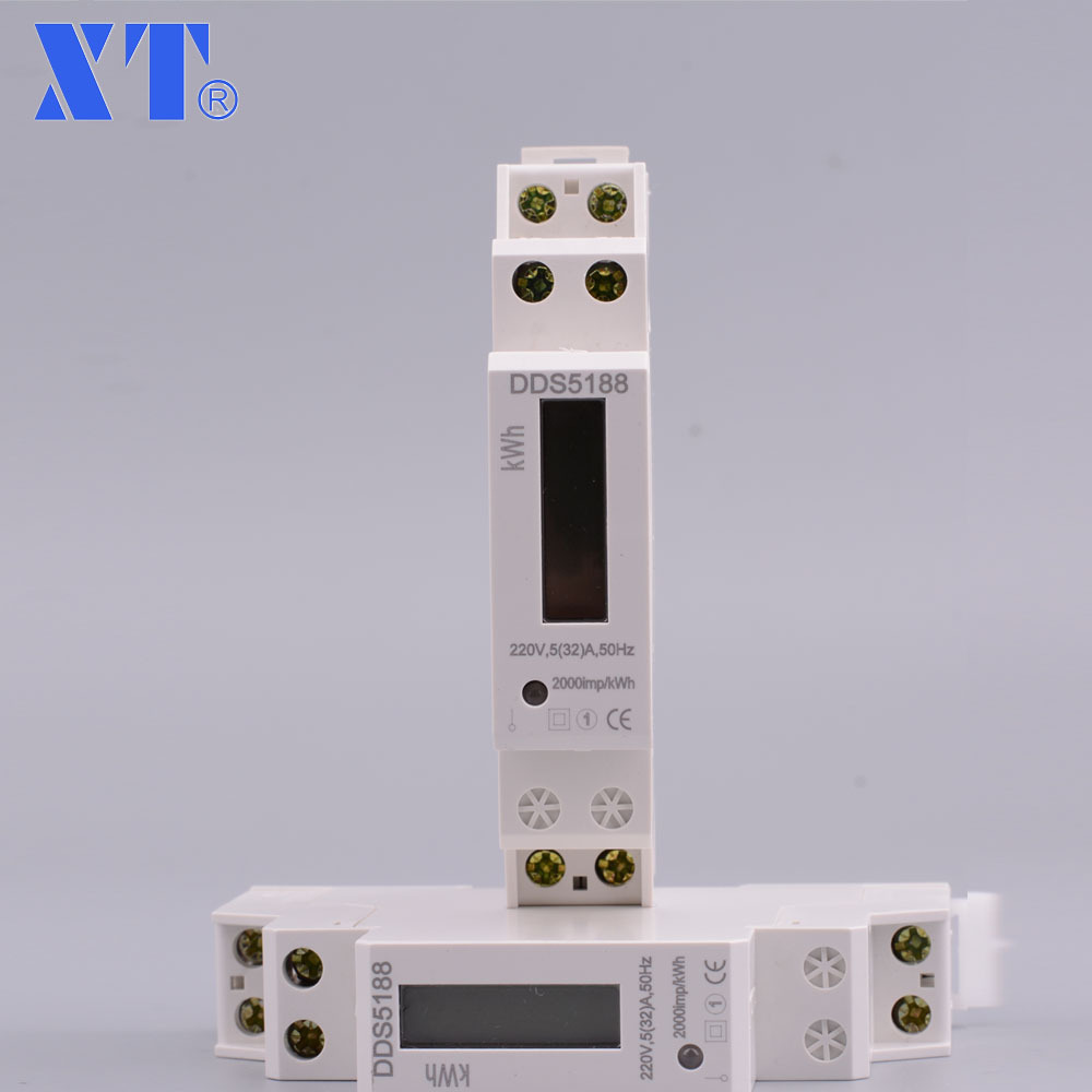 DDS5188 5 (32) 230 V 50 HZ monophasé Din rail KWH Watt heure din-rail testeur de compteur d'énergie moniteur vérificateur