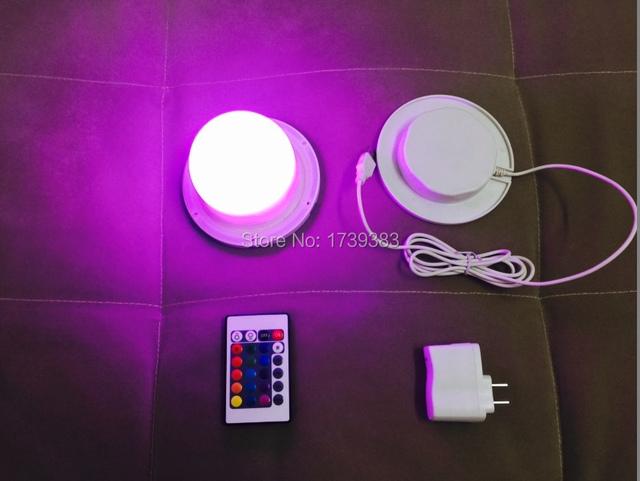 10 Pçs/lote 85mm Bulblite RGB + White LED sistema de iluminação À Prova D' Água Recarregável Lite Bulbo CONDUZIDO sob a mesa de luz IR controle