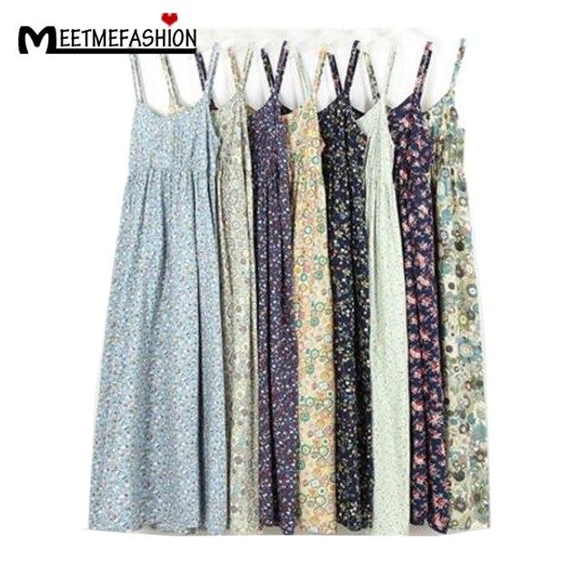 MEETMEFASHION Mori Girl Summer Dress 2018 100% Cotton Vestidos Women Sexy Spaghetti  Strap Casual Beach Dress Women Floral Print 21baac411876