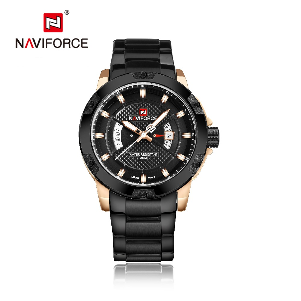 Watch Men NAVIFORCE font b Men s b font de acero inoxidable watch MenQuartz Analog Watch
