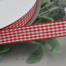 Upick 5 8 15mm Red Color One Roll Tartan Plaid Ribbon Bows Appliques Sewing Crafts 50Y