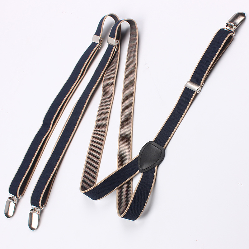 Mantieqingway Navy Blue Solid  Elastic Suspenders For Men And Women 2 Cm Width Tirantes Adjustable 4 Clip  Braces Men Bretelles