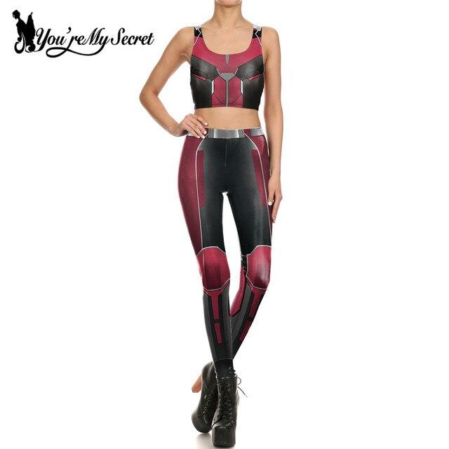 [You're My Secret] Fashion Cloth Red Armor Comic Cosplay Slim Leggings Women Leggin Super Hero Deadpool Workout Pants Sets
