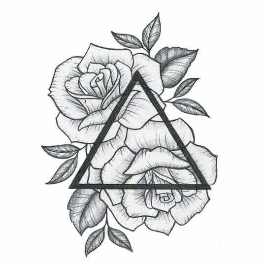 مثلث الزهور المؤقتة الوشم ملصق للماء المرأة بنات الكتف الساقين الجسم الفن وهمية الوشم 10X10 سنتيمتر