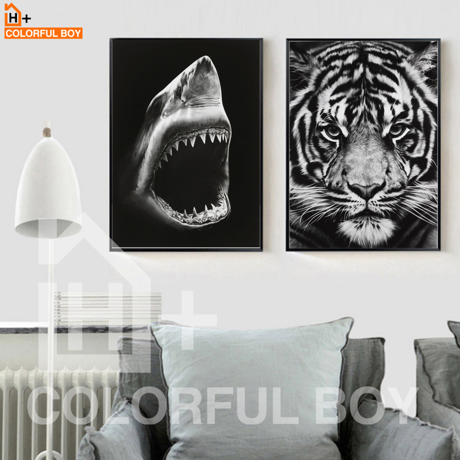 COLORFULBOY Tiger Shark Canvas gleznošana Modern Wall Art Black White Plakāti un izdrukas Wall Pictures dzīvojamā istabā Home Decor
