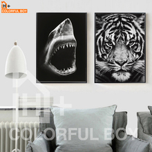 COLORFULBOY Modern Tiger Shark Canvas Painting Black White Wall Art Posters And Prints Pictures For Living Room Home Decor