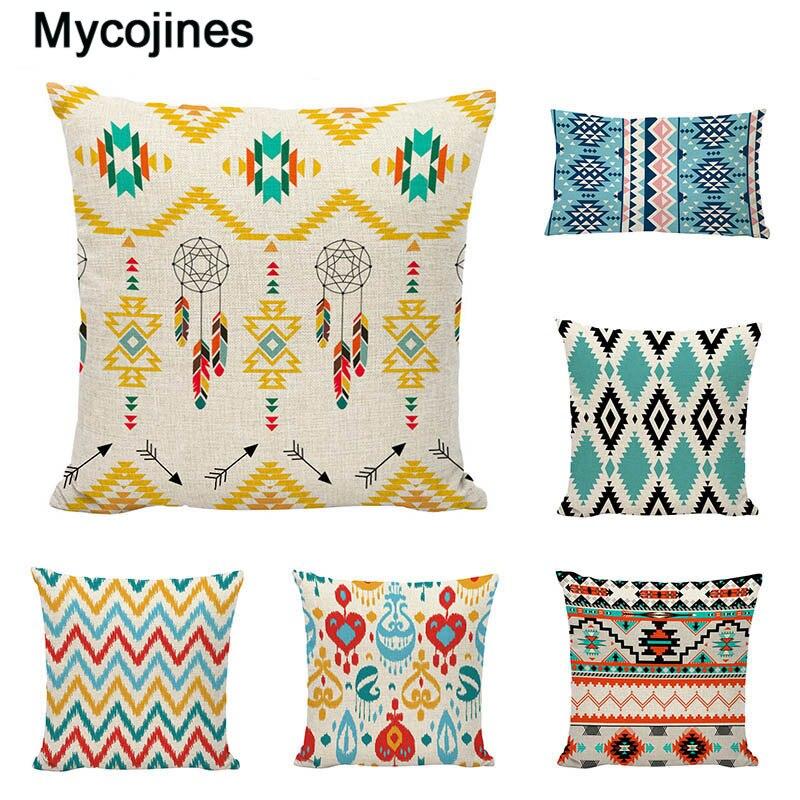 Gifts New American Geometry Cushion Cover Linen Cotton Boho Mandala Home Decorative Sofa Ethnic Style Bohemian Throw Pillow Case
