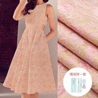European And American Brands Jacquard Fabric Custom 160cm Wide Pink Gold Flowers Elegant Jacquard Dress Cloth