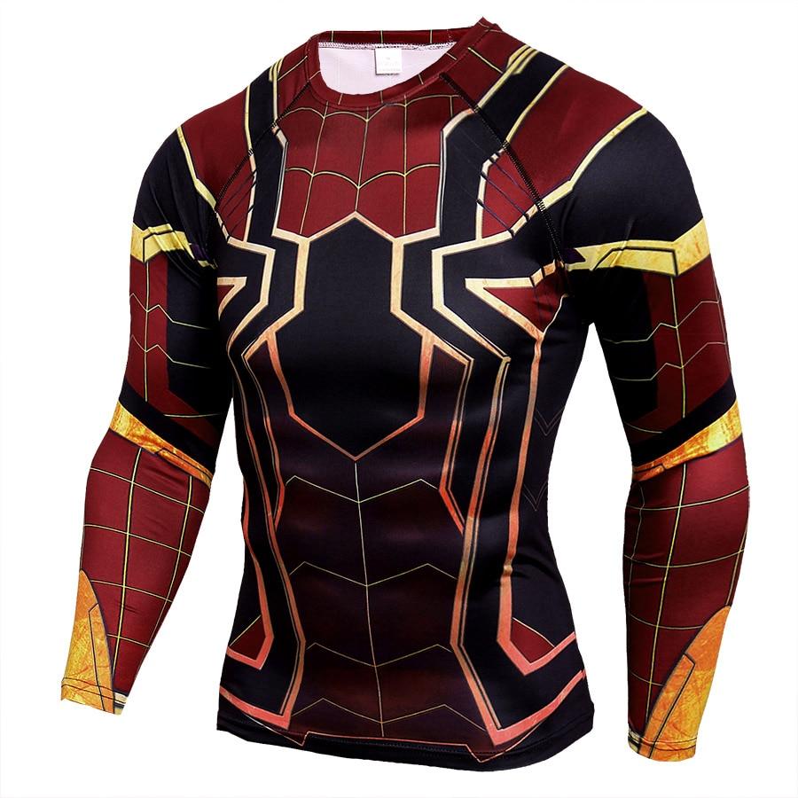 Marvel Comics vengadores Spiderman Pantera Negra 3D Camiseta de manga larga hombres Fitness ropa Capitán América camisa de compresión