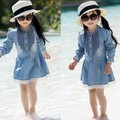 Varejo 2015 Outono Novas Crianças de roupas Meninas Vestidos de Princesa Casuais Crianças de Algodão Fino Denim Vestido Longo-Luva