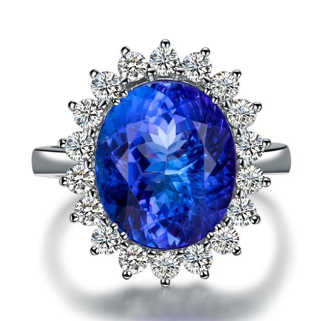 5carat Blue Gemstone 18K White Gold Blue Tanzanite Ring