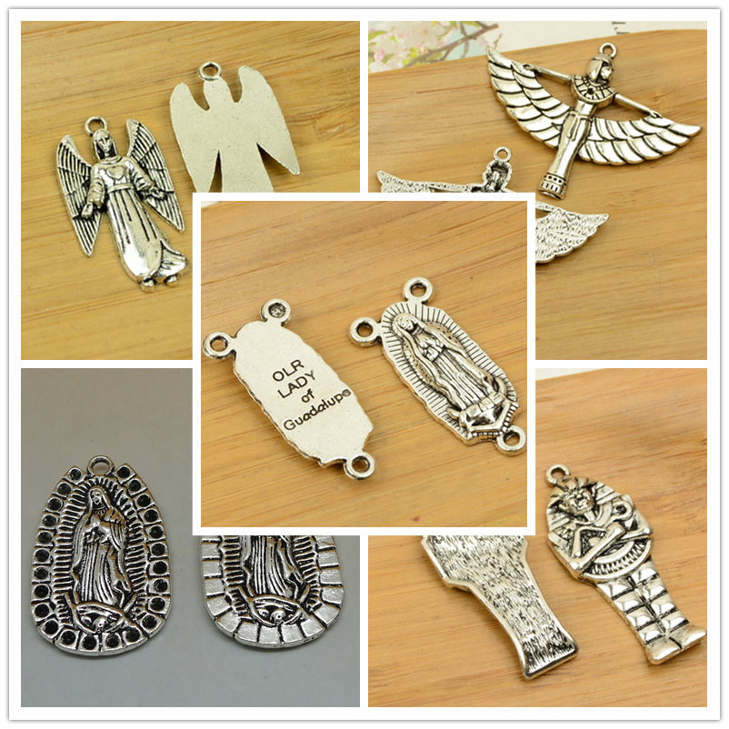 God/Jesus/mummy Shape Alloy DIY Christmas Charm Pendant  Jewelry Accessories Findings Antique Silver Necklace Chain Hot