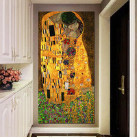 1 Piece The Kiss Gustav Klimt Gold Leaf On Canvas Wall Art Huge Modern Decor Printed Painting Canvas Pictures