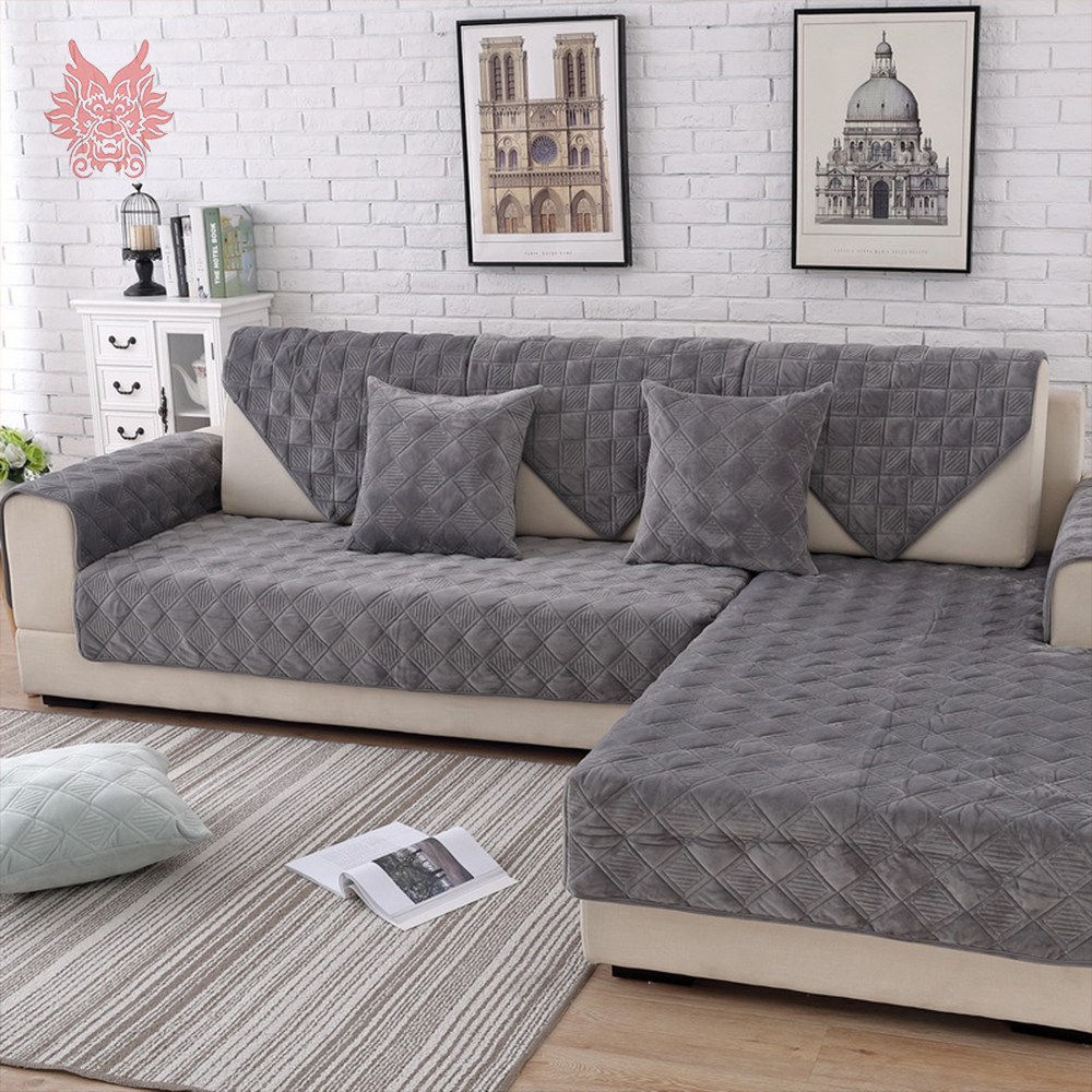 US $13.18 46% OFF|Grey pink plaid quilted plush sectional sofa cover  slipcovers furniture couch covers sofa protector capa de sofa fundas  SP5623-in ...