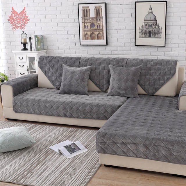 US $13.42 45% OFF|Grey pink plaid quilted plush sectional sofa cover  slipcovers furniture couch covers sofa protector capa de sofa fundas  SP5623-in ...