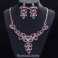 Luxury Leaf Shape Cubic Zirconia Simulated Diamond Women Big African Party Jewelry Sets With Created Ruby Red Stones JS156