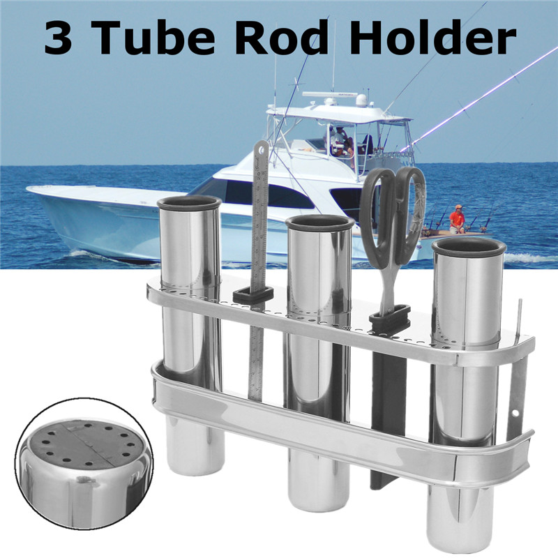 Marine Boat Fishing Outrigger Stainless Steel 3 Tube Rod Holder Tackle Rack 316 Stainless Steel Space-saving Mounts Boat Truck