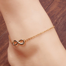 Chic Freeshipping Personality Female Number 8 Shaped Ankle Bracelet Women Anklet Foot Jewelry Barefoot Sandals 2 Colors