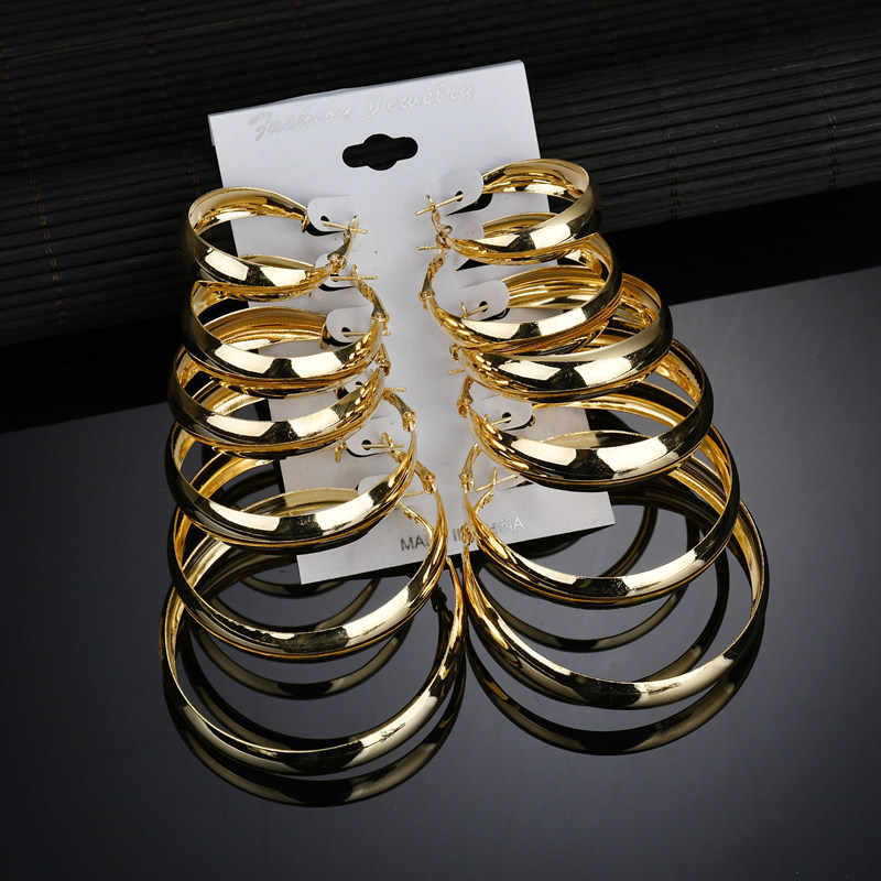 12 Pairs/set Minimalist Jewelry Fashion Round Circle Hoop Earrings Set For Women Gold Silver Big Earring Gifts Brincos