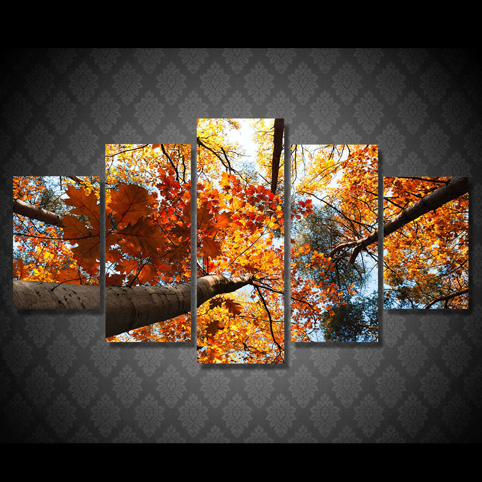 Promotion High Quality HD Printed Golden Leaves Painting Canvas Print room decor print poster picture canvas