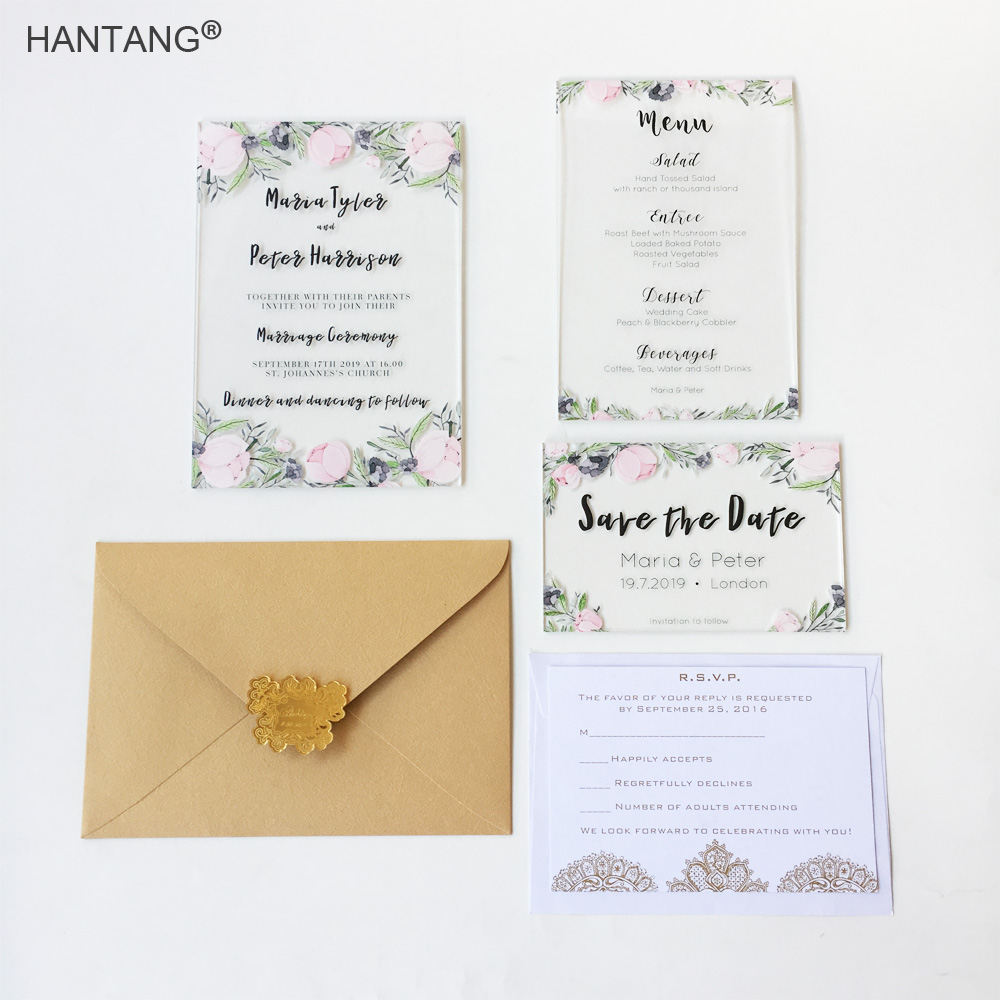 Floral Watercolor Style Printable Clear Acrylic Wedding Invitation Card Set  100 Sets Per Lot(China