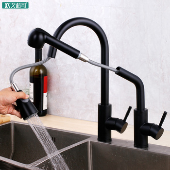 Black surface pull out kitchen faucet 2-function water spray 304 stainless steel