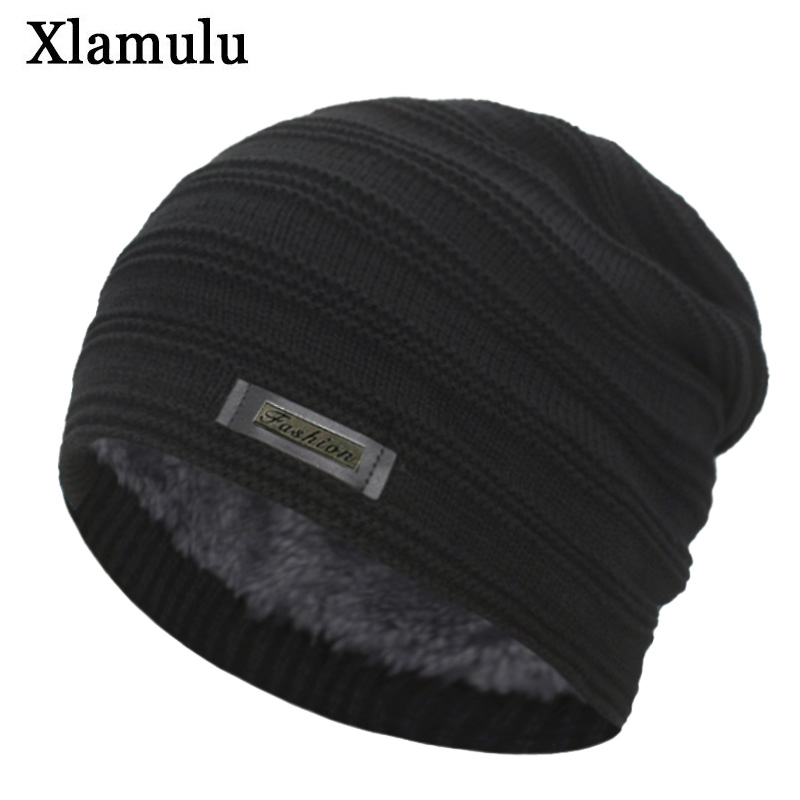 Xlamulu New Fashion Men Winter Hats For Women Skullies Beanies Knitted Hat Warm Male Gorros Bonnet Caps Thicken Soft Beanies Hat