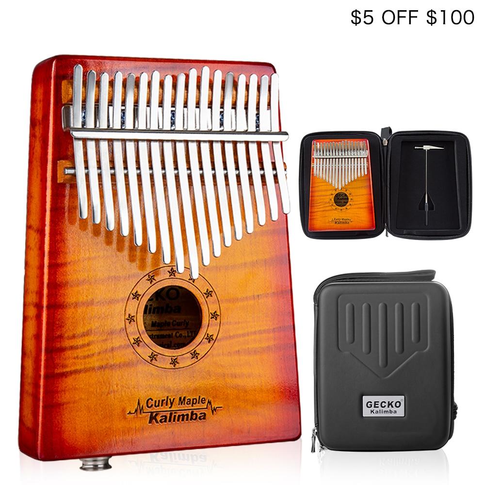 GECKO Kalimba 17 Key CURLY MAPLE Thumb Piano builts in EVA high performance protective box MC
