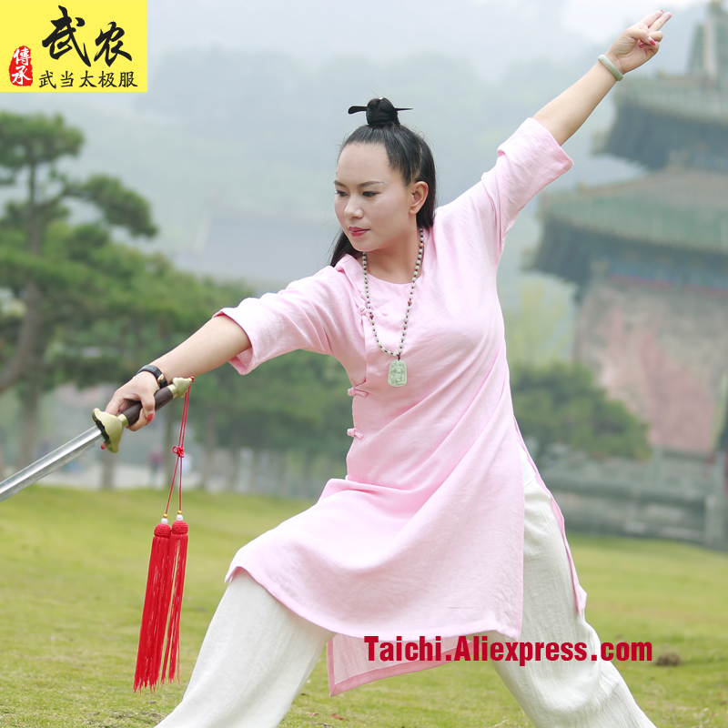 Female Handmade  Linen Tai Chi Uniform Wushu  Kung Fu Wudang Training Suit Chinese Traditional Martial Arts Jacket+pants master recommend movement triangle frame wing chun wooden dummy donnie ye used standard kung fu wooden dummy martial arts