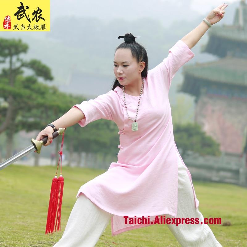 Female Handmade  Linen Tai Chi Uniform Wushu  Kung Fu Wudang Training Suit Chinese Traditional Martial Arts Jacket+pants