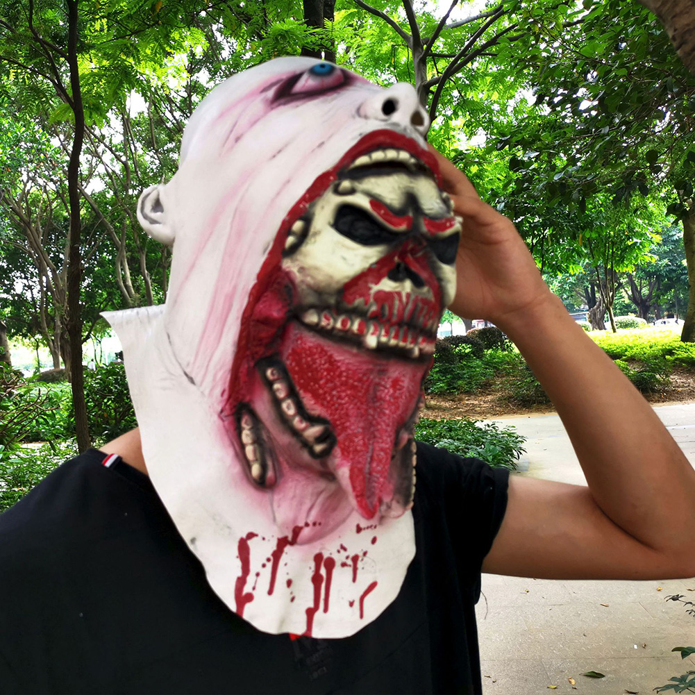 HOT SALE Melting Face Latex Adult Bloody Zombie Mask Halloween Scary Cosplay Prop Costume 2