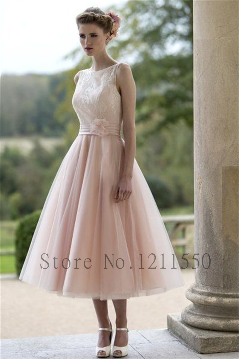 Pale Pink Short Wedding Dress