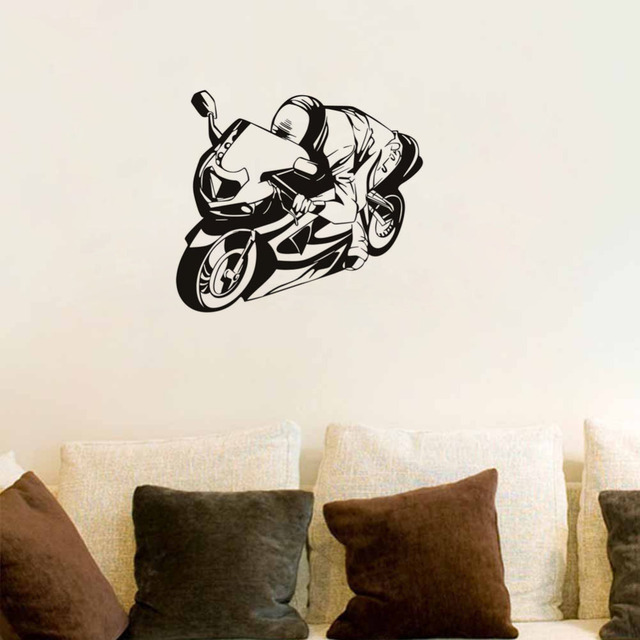 Racer Riding Motorcycle Wall Stickers New Vinyl Decal Decoration Children Bedroom Decor Sticker Design