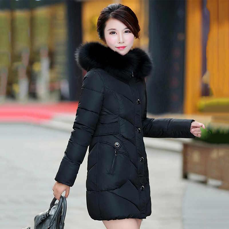2019 hohe Qualität Frauen Winter Jacke Plus Größe 3Xl 4XL Outwear Mit Kapuze Mit Fell Kragen Weiblichen Mantel Lange Warme Parka abrigo Mujer