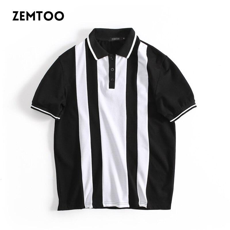 Fashion Brand Men's Polo Shirt Men Black and white striped Casual Polos Summer Cotton Short-sleeve Laple Male Polo Shirt B3986