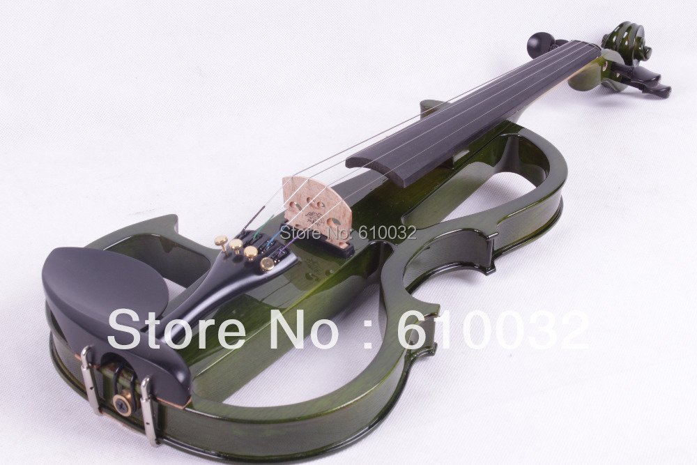 4/4 Electric Violin Solid wood 8 --21# dark green color 5 string 4 strings new 4 4 electric violin silent pickup fine tone parts include new golden color 5 22 red color