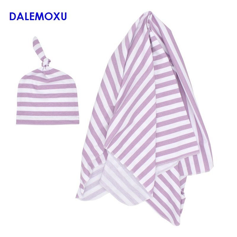 DALEMOXU Baby Waddle Striped Muslin Blanket Baby Multi-use Big Diaper Blanket Wrap Thin Sleeping Bag For Summer Bedding 2PC