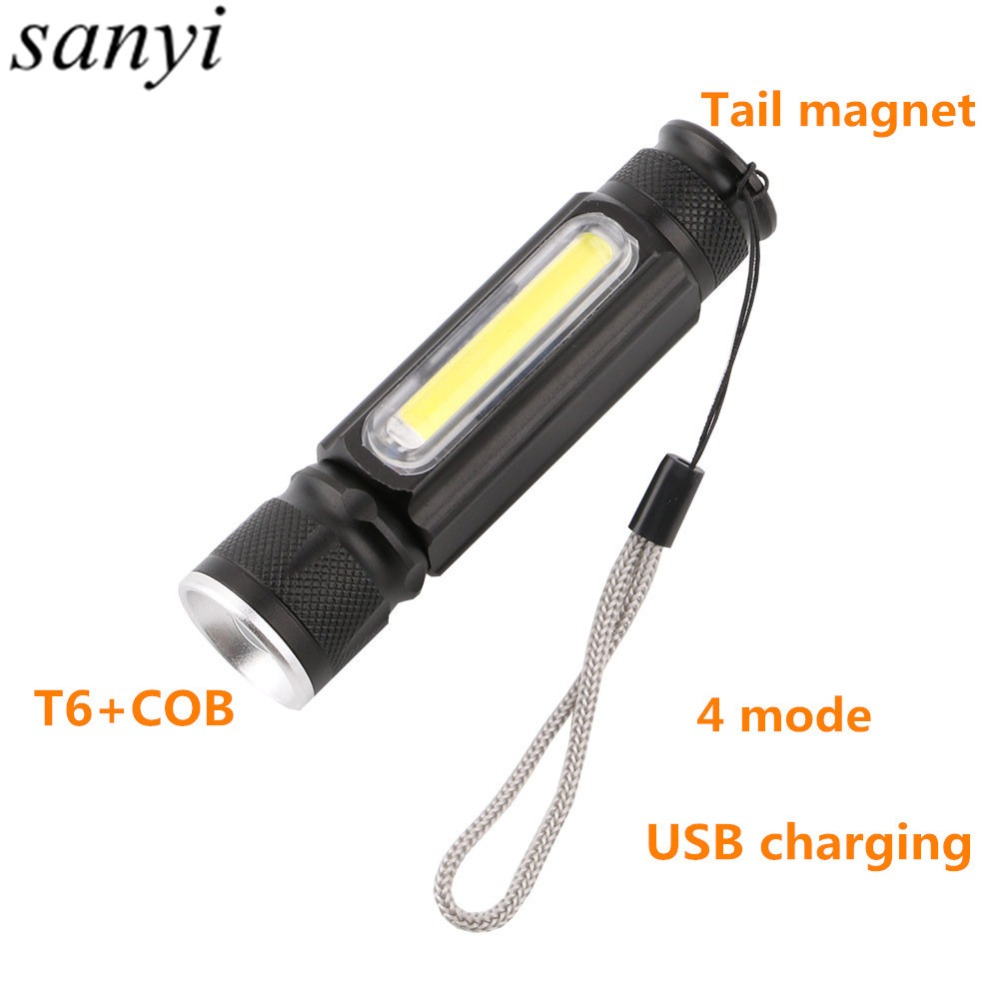 Magnet Camping Lamp usb Led Flashlight T6+COB Torch Rechargeable Led Lantern 4 Mode Waterproof Zoom 18650 Battery Flashlight litwod z501516 led mini flashlight led cob waterproof aluminum 1 mode torch use 14500 or aa battery for camping working lantern