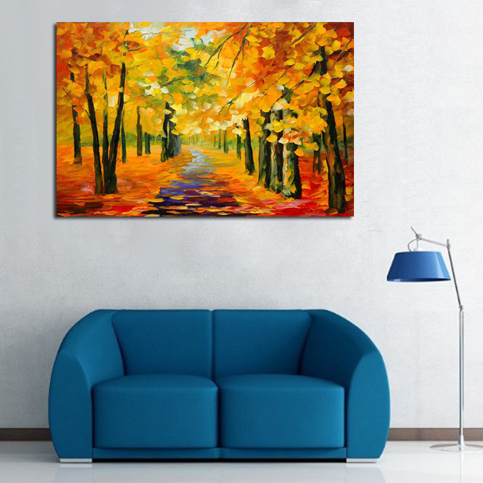 bb handmade-Golden-Tree-Forest-painting-Knife-Oil-Painting-On-Canvas-Gold-Montreal-Picture-Wall-Art-me (4)