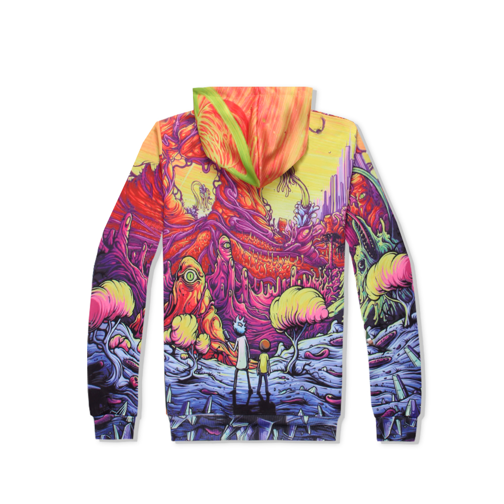 PLstar Cosmos Rick and Morty On the volcano sweats tracksuit men women winter casual clother 3d hoody&pants 2 pieces size S-XXL