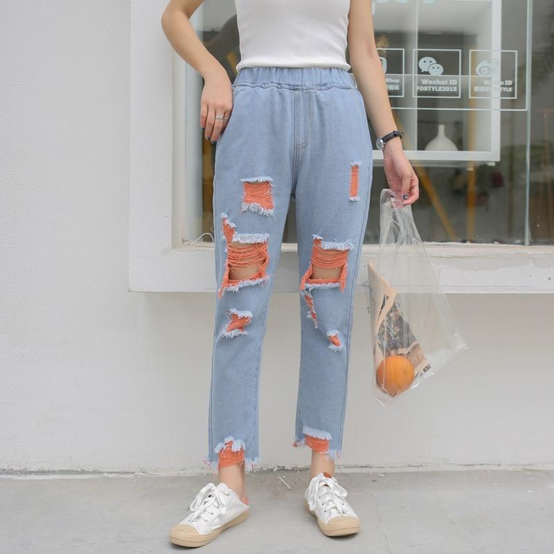 In Nuovi Mostrare Jeans Alta Vita Azzurro Donne Delle Un Cielo Colore Mendicante Sottile Elastico Vestiti Di Dell'urto Dei Per Harem Fori 8013 arancione Autunno 2018 Cq4Z57C