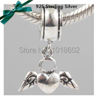 Free Shipping 100% 925 Sterling Silver Jewelry Heart With Wing Charms Beads Fits For European Pandora Bracelet Necklace VK0752
