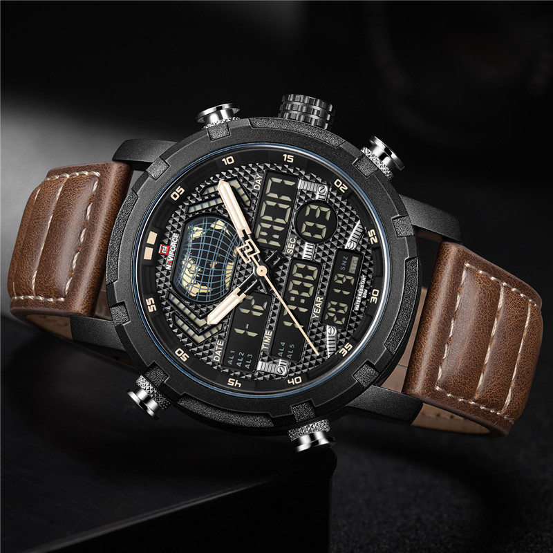 Image 3 - NAVIFORCE Watch Men Top Brand Luxury Digital Analog Sport Wristwatch Military Genuine Leather Male Clock Relogio Masculino 9160-in Quartz Watches from Watches