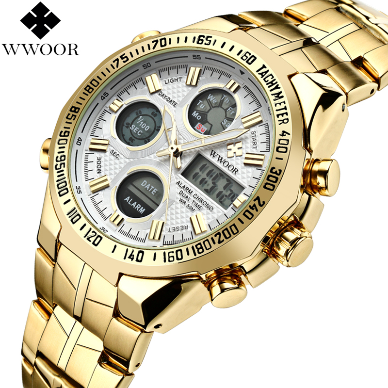 WWOOR Gold LED Dual Display Watch Men Brand Waterproof Sports Men's Quartz Watches Chronograph Alarm Week Military Wrist Watch oulm military digital dual time watch men leather strap chronograph calendar alarm waterproof led electronic wrist watches 2018