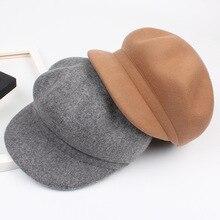 2018070006 inverno % lã quente sólidos lazer lady boinas cap viseiras  chapéu de lã das mulheres b49e88ae2e0