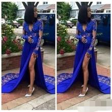 2019 Arrival Exquisite Lace Applique Deep V-Neck Party Prom Dresses Elegant Said Split Royal Blue Evening Dress Free Ship
